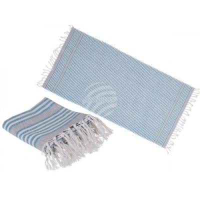 Hamamdoek: 80x170cm - Sauna - Strand Handdoek - Wit, Blauw, Grijs