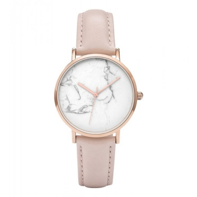 Horloge - Klassiek Marmer op een riem van roségoud - H673
