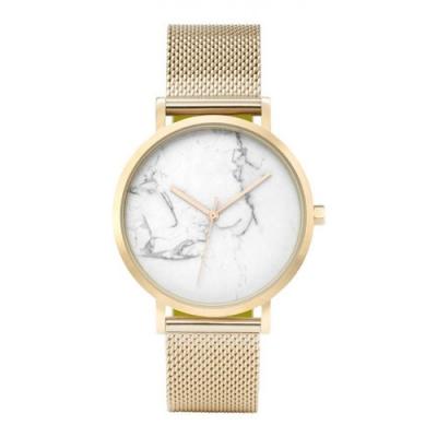Horloge - Wit, Goudkleurig - Stijlvol, Marmer - H674Z
