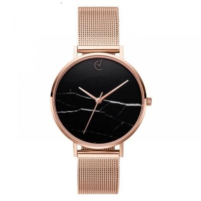 Horloge - Rosé, Rosekleurig - Stijlvol, Zwart, Marmer - H675RZ