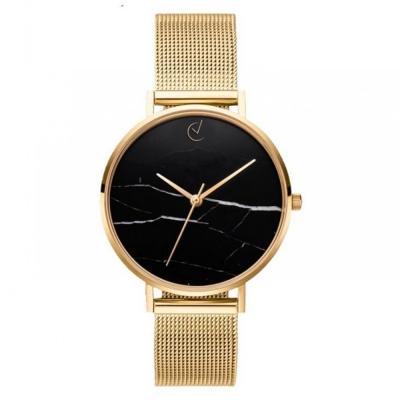 Horloge - Goudkleurig, Zwart - Stijlvol, Marmer - H675Z