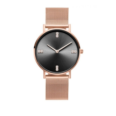 Horloge - Rose, Zwart - Kristallen - H680RZ