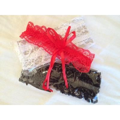 Kousenband Rood, Wit of Zwart met Strik