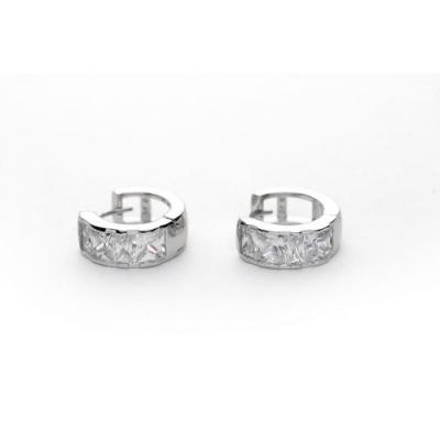 Oorbellen - Ring met Wit Goud - OL-ST789