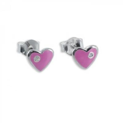 Oorbellen: Studs hart, verf roze, met strass- Zilver 925 - Z4021