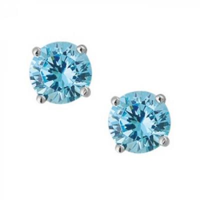 Oorbellen - Blauw/Aqua 6 mm - Zilver 925