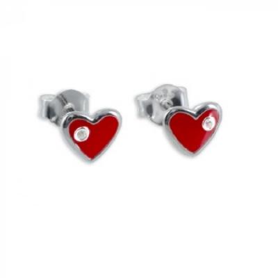 Oorbellen: Studs hart, lak rood, met strass- Zilver 925 - Z4401