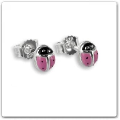 Oorbellen: Studs lieveheersbeestje roze/zwart geëmailleerde- Zilver 925 - Z4456