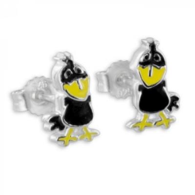 Oorbellen: Vogel - gekleurd gelakt- Zilver 925 - Z4732