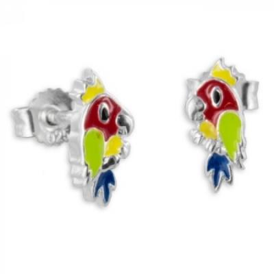 Oorbellen: Studs papegaai gekleurd gelakt- Zilver 925 - Z4765