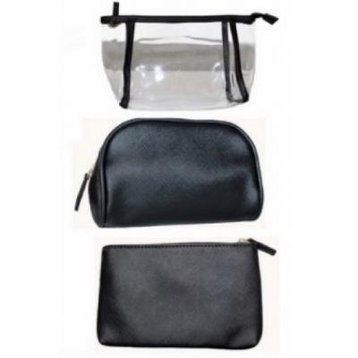 Makeup tas, Toilettas 3 in 1 - Doorzichtig - Zwart - 7442141061077
