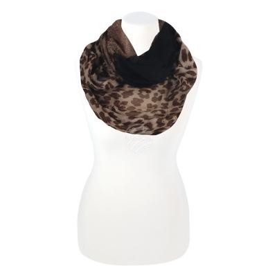 Bruin Zwart - Classic Floral Leopard - Sjaal 'Loop' met dieren print - SCH-1412a