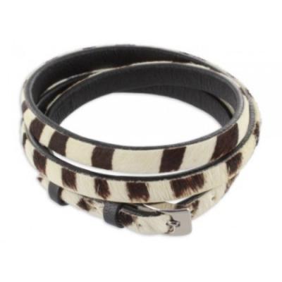 Armband: Echt Leder - Zebra