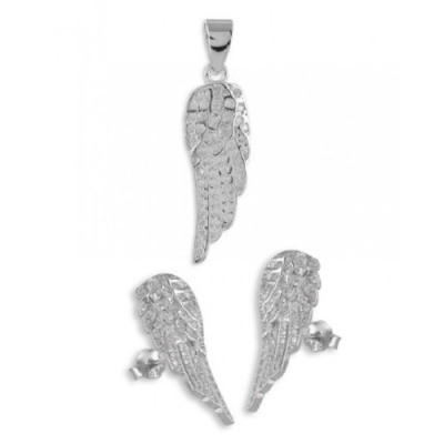 Set: Hanger & Oorbellen: Vleugels - Zilver 925