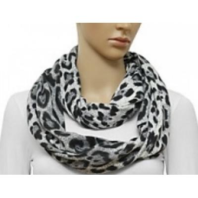 Sjaal 'Loop' met dieren print - Zwart, Wit, Grijs