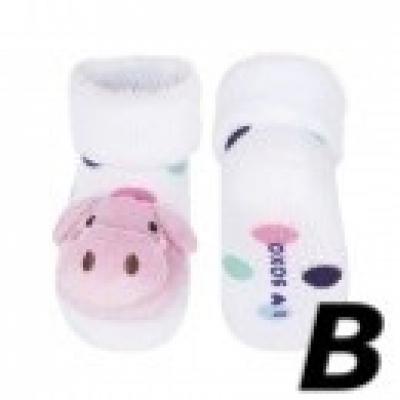 SOXO, babysokjes met rammelaar in dier (varken) - BS19002B