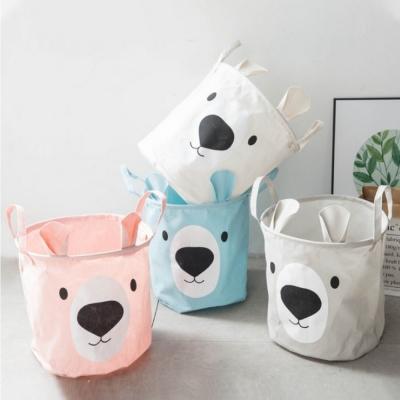 Container - Tas - Wasmand - Teddybeer (Beige, Roze, Blauw, of Grijs) - Speelgoed mand (WM49)
