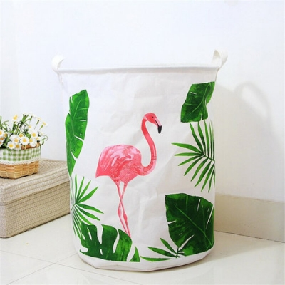 Container - Tas - Wasmand - Flamingo - Speelgoed mand (Z73)