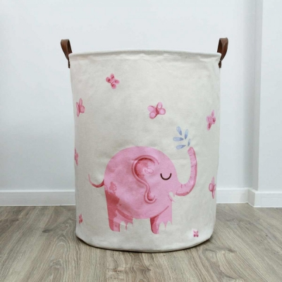 Container - Tas - Wasmand - Olifant Roze - Speelgoed mand (Z6)