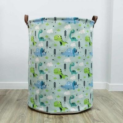 Container - Tas - Wasmand - Dino's Blauw/Groen - Speelgoed mand (Z8)